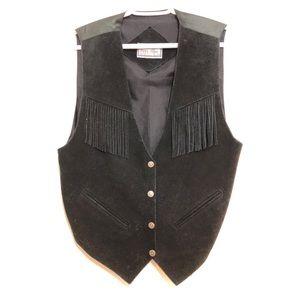 Vintage Suede Fringe Western Style Vest Black Sz M
